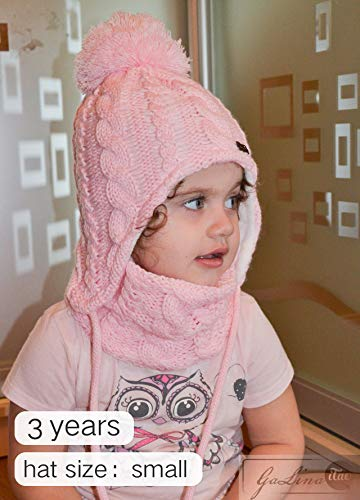 524288ea22c6 ... Kids Winter Hat and Scarf Set for Baby Girls Boys Toddler Knit Beanie  Hat Pom Pom