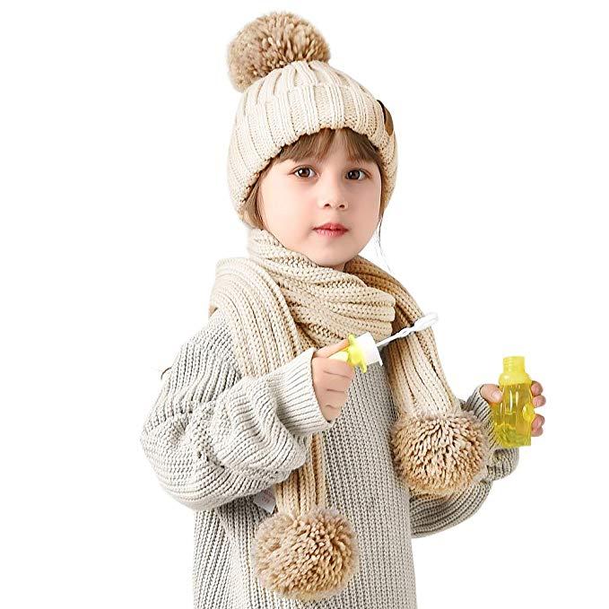 dbcbcc238a8d FURTALK Kids Winter Faux Fur Pom Pom Hat Toddler Boys Girls Kids Knitted  Beanie Hat ...